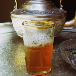 Moroccan mint tea preparation