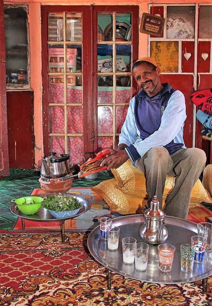Moroccan mint tea ceremony & ingredients