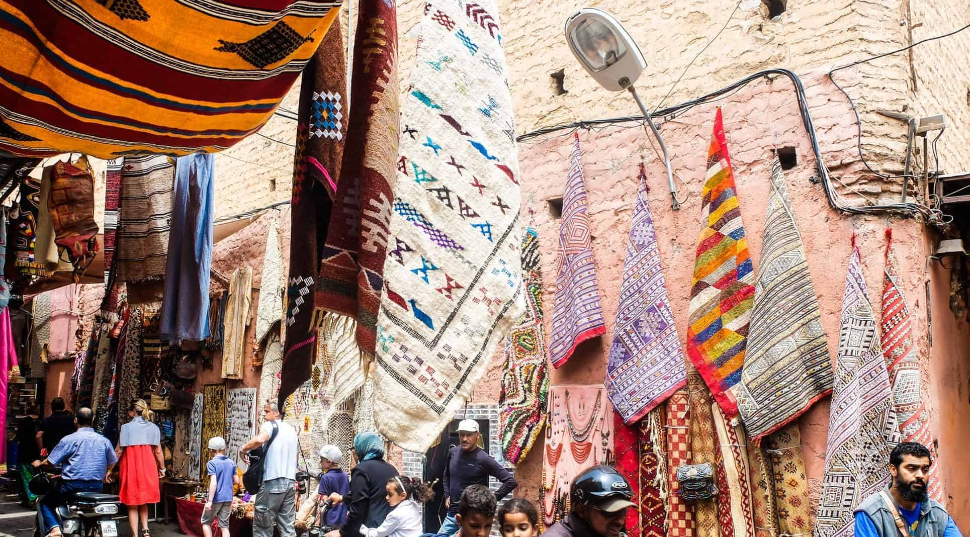 Morocco souk with a high concentration of locals