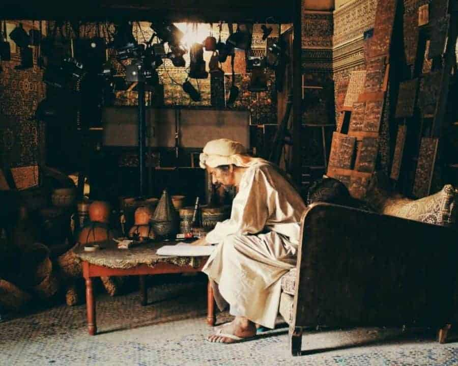 Old Authentic Moroccan craftsman in Fez