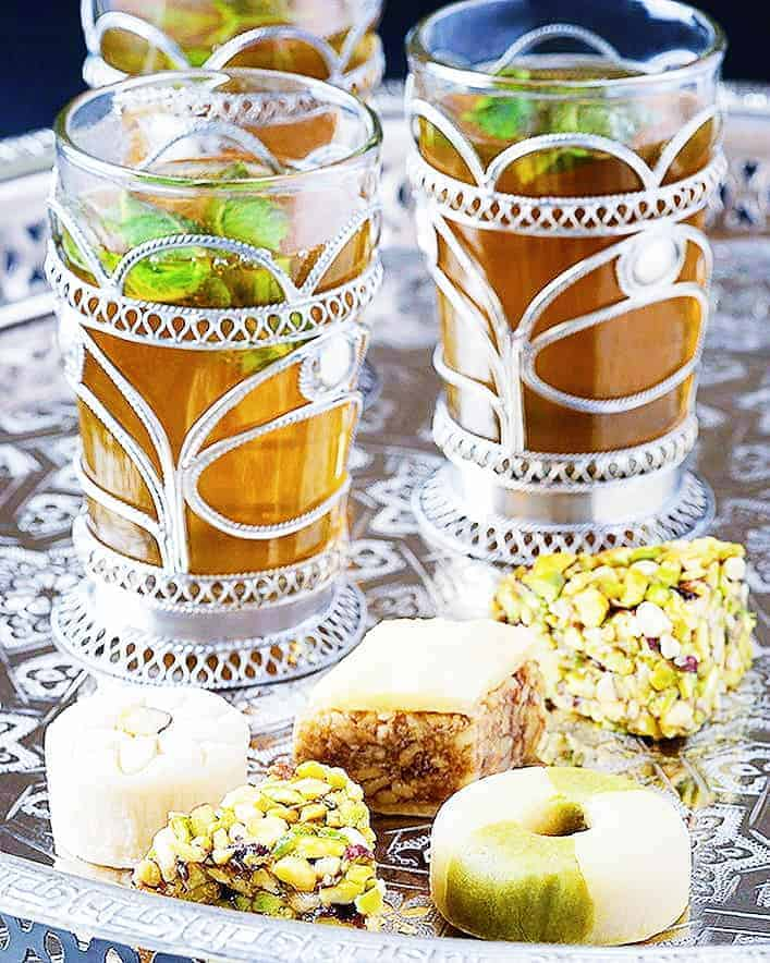 Moroccan mint tea and pastries