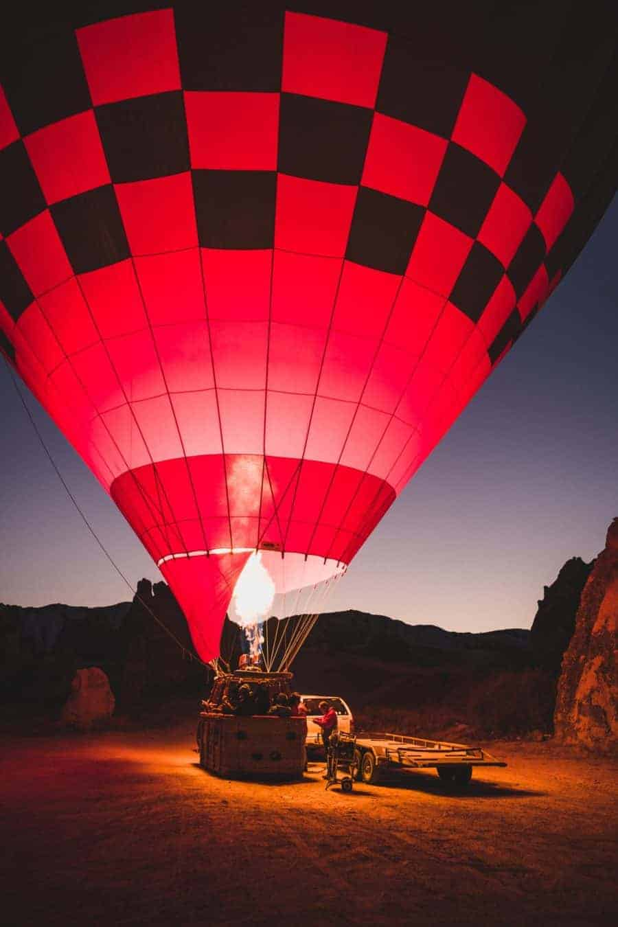 having a balloon ride in Morocco