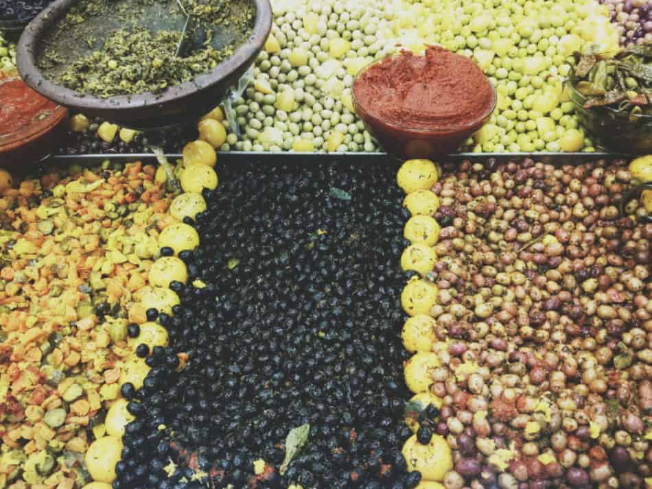 Colorful and spicy Moroccan olives