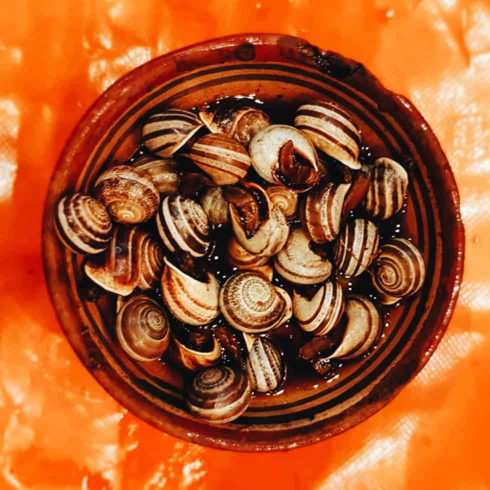 Spicy Moroccan snails in a bowl served in Moroccan streets