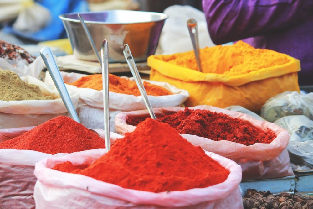 colorful Moroccan spices in Morocco
