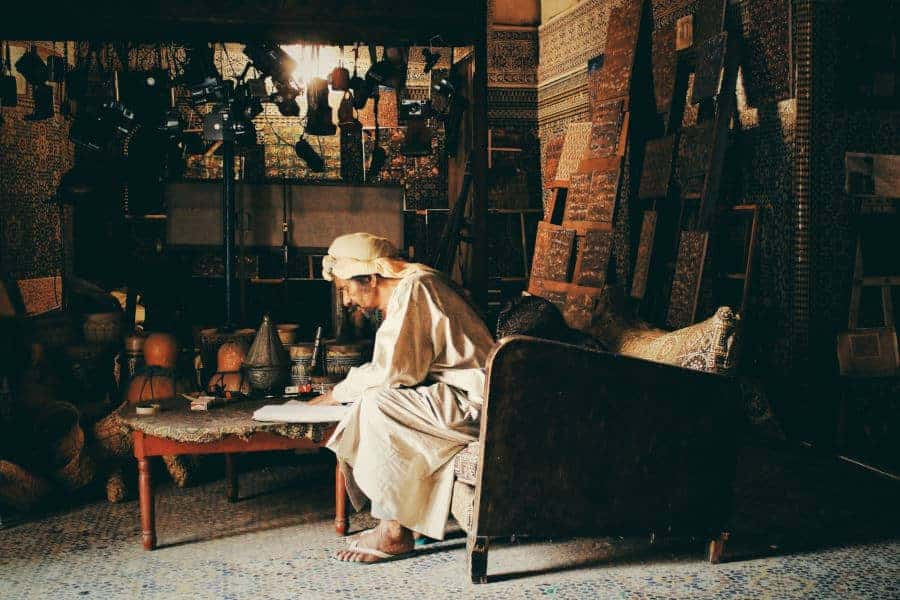 Moroccan craftsman in workshop