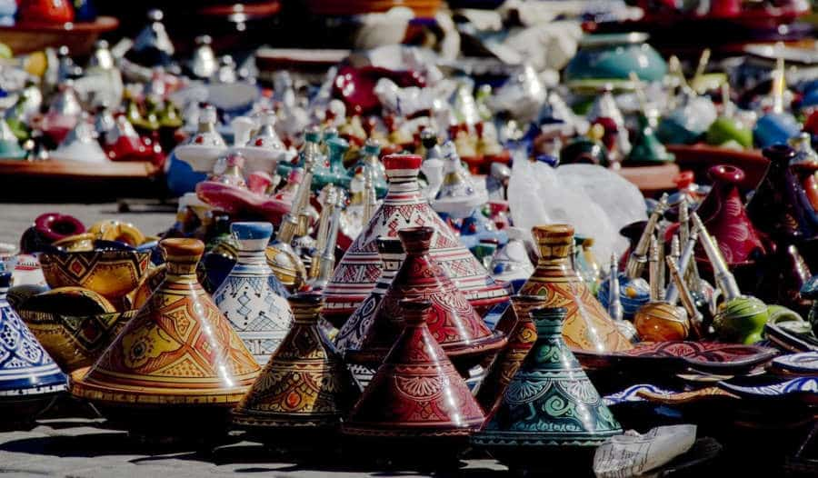 Moroccan decoration and serving tagine pots