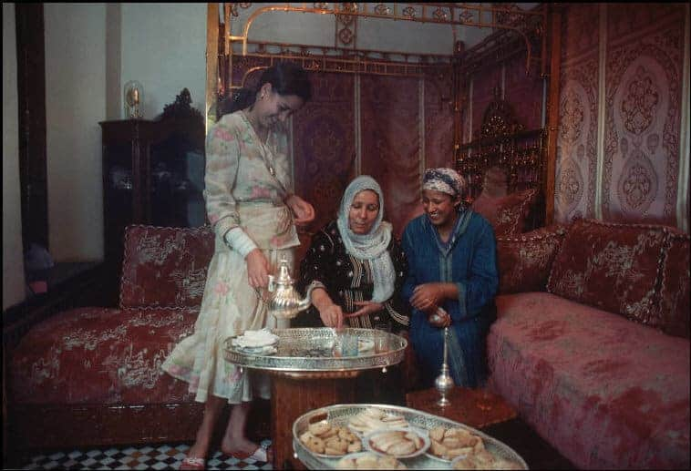 Moroccan women in 1983 drinking Moroccan mint tea