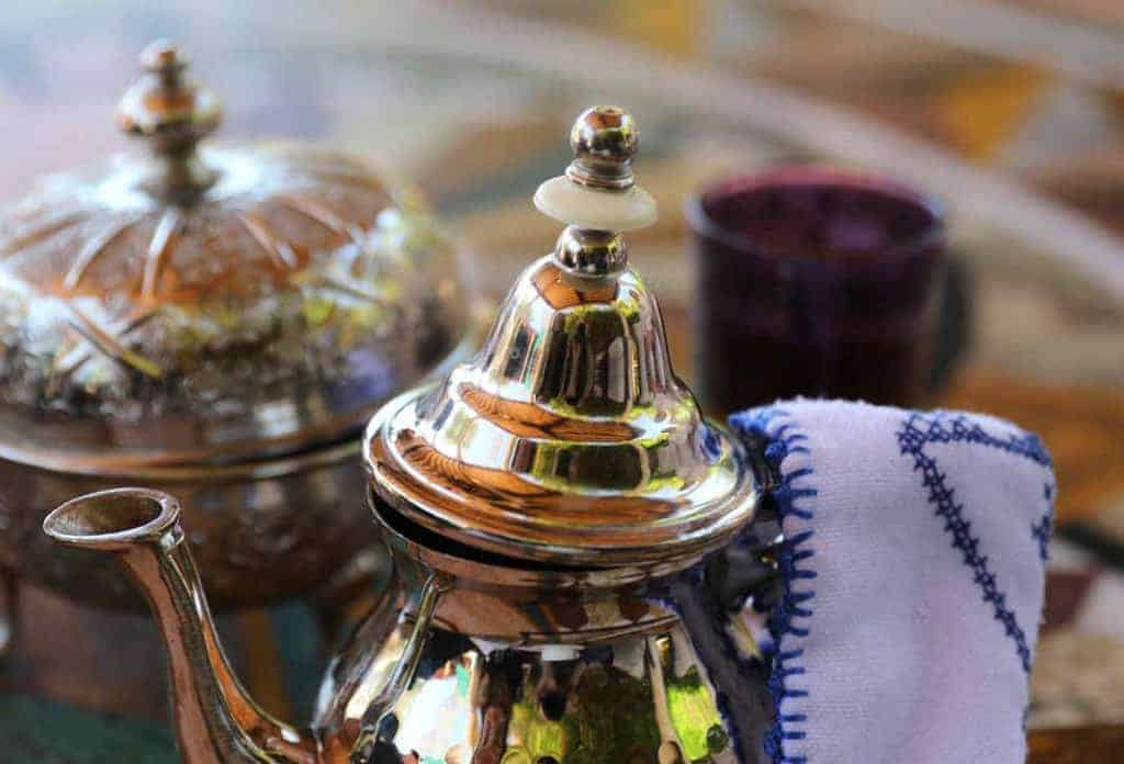 Moroccan mint tea in beautiiful teapot
