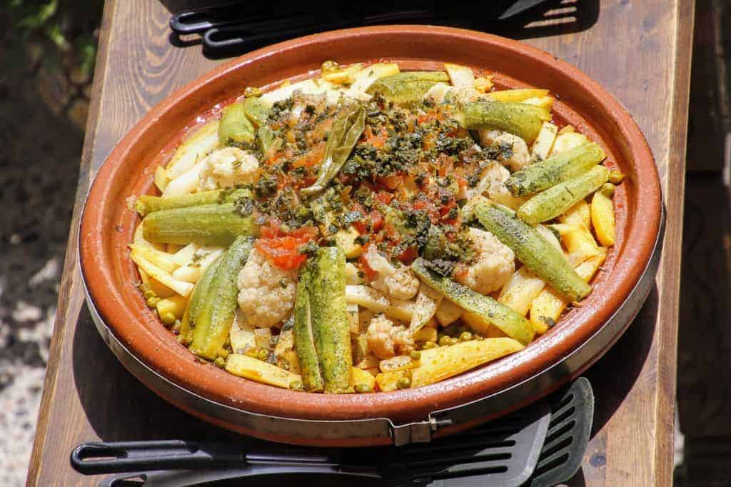 Moroccan vegan tagine in tagine pot