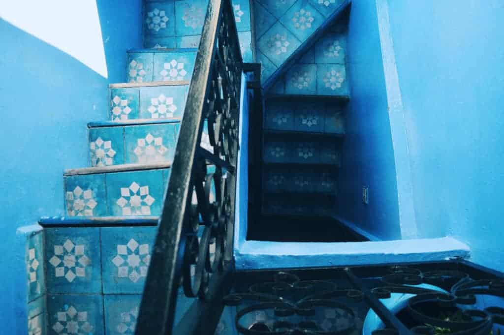 blue patterns on stairs Morocco