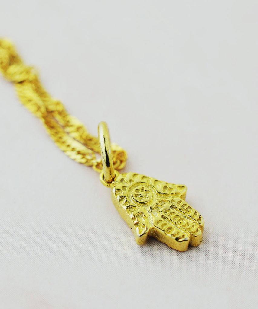 Moroccan gold hamsa necklace
