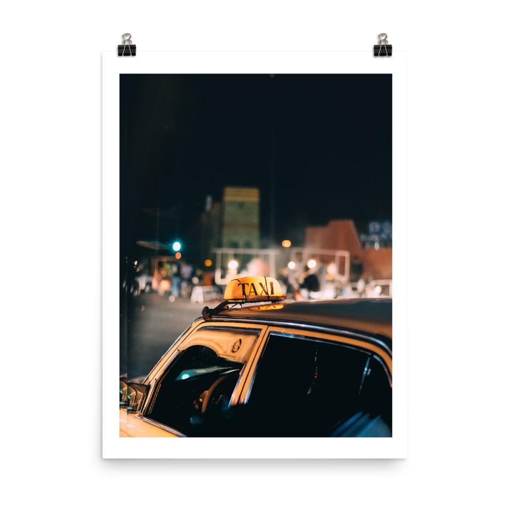 Morocco print yellow taxi marrakech