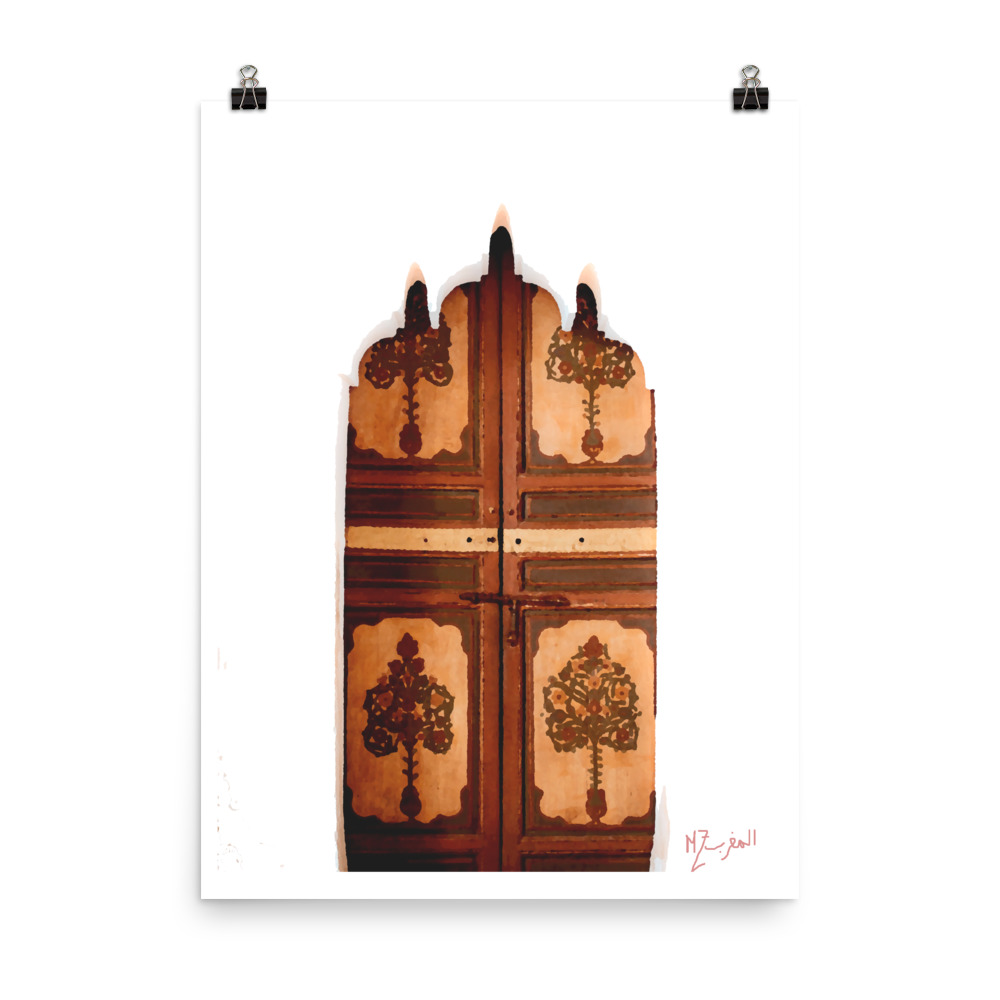Moroccan wooden door print
