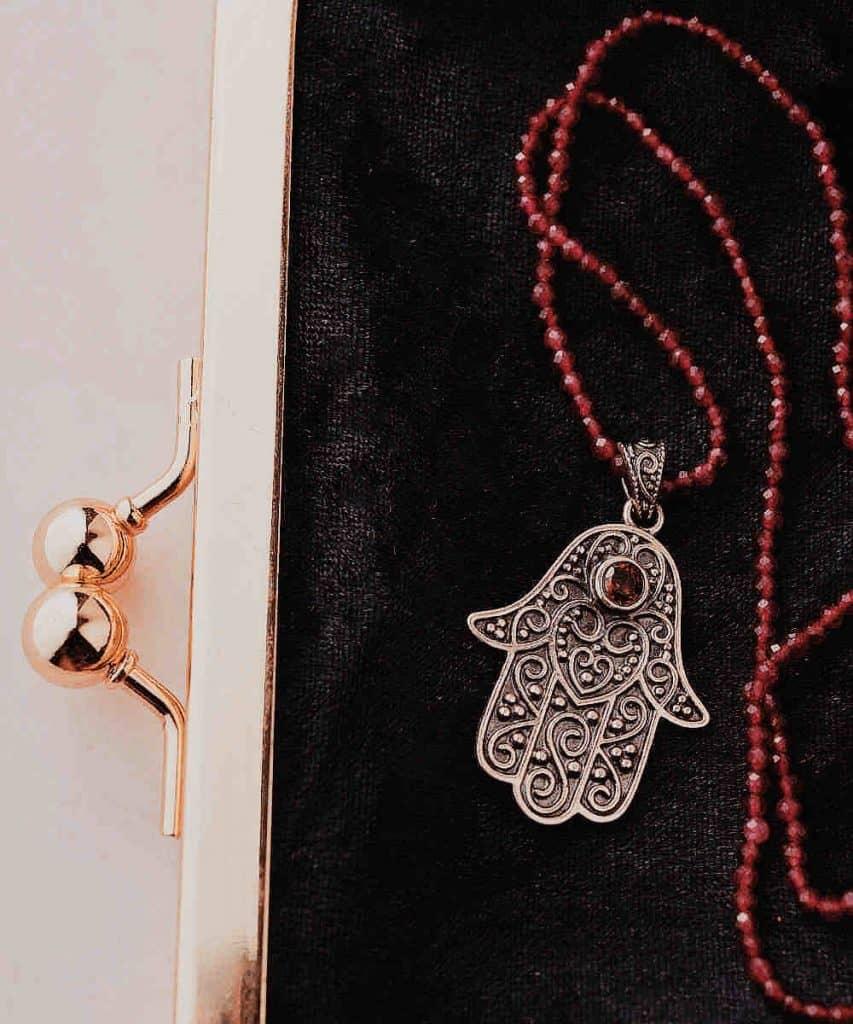 silver hamsa necklace moroccan