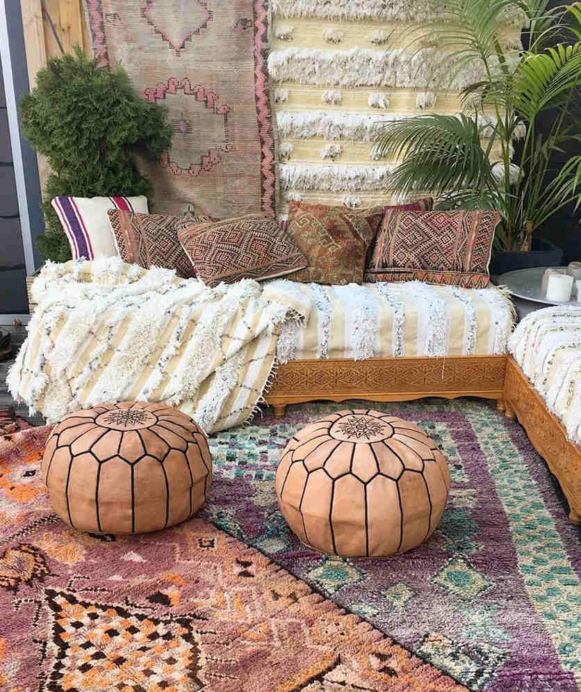 moroccan outdoor decor pouf rug handira
